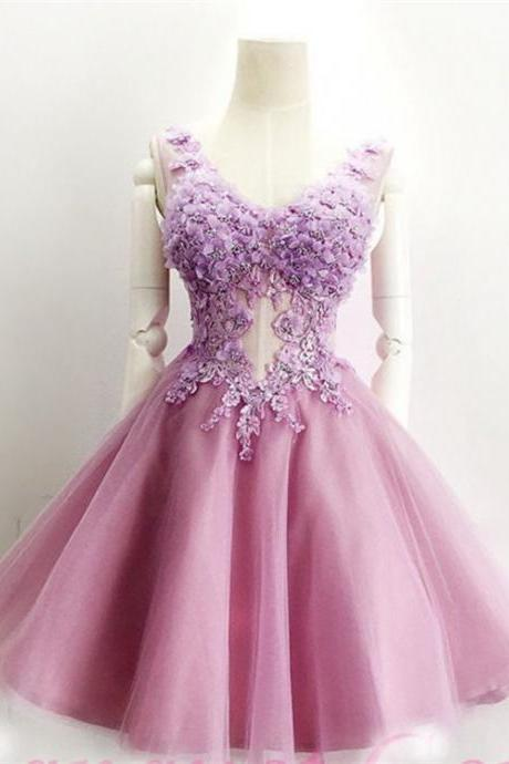 Beautiful Tulle V-neck Neckline A-line Homecoming Dresses With Flowers HD192