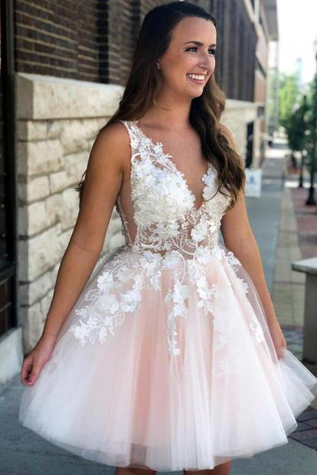 Elegant Tulle V-neck Neckline Ball Gown Homecoming Dresses HD220