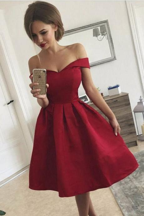 Sexy Satin Off-the-shoulder Neckline A-line Homecoming Dresses HD283