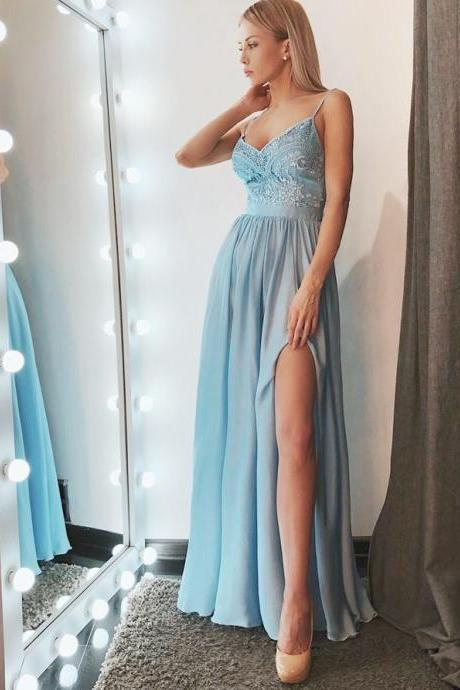 Charming Satin Spaghetti Straps Neckline Long A-line Homecoming Dresses HD290
