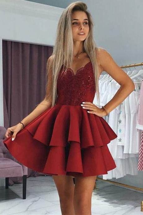 Marvelous Satin Spaghetti Straps Neckline Short A-line Homecoming Dresses HD318