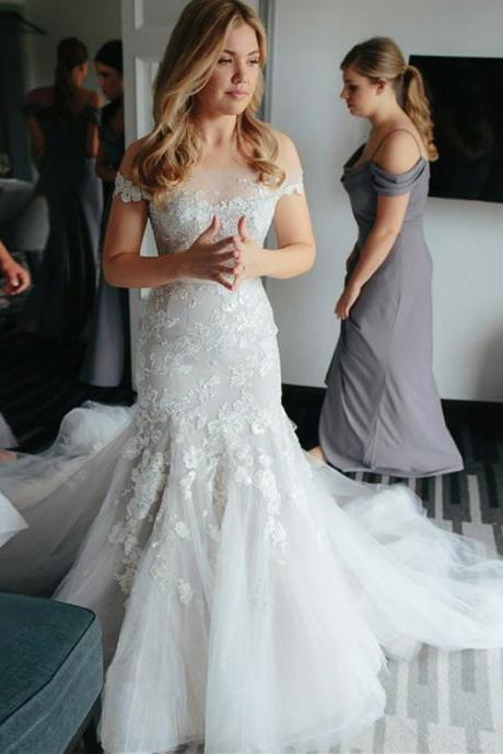Marvelous Tulle Mermaid Wedding Dresses With Appliques WD266