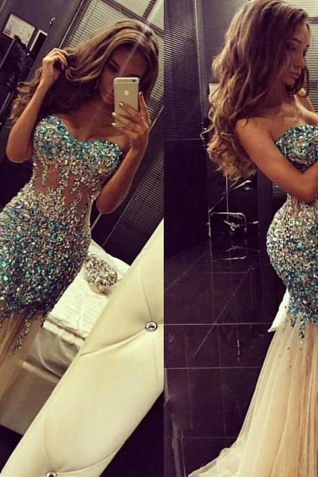 APD1623 Mermaid Sweetheart Neck Sparkly Beaded Prom Dress,Long Formal Dress