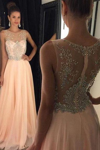 Nude chiffon with beaded bodice long prom dresses 2016 formal dresses