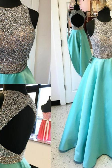 Halter beaded bodice mint satin skirt prom dresses open back long formal dresses