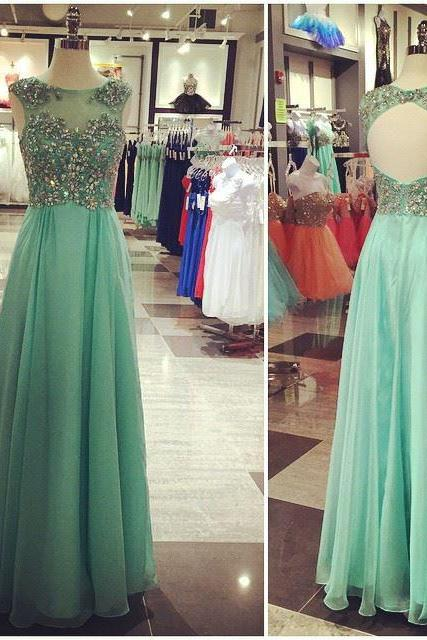 New Arrival Mint Chiffon Prom Dresses Open Back Beaded Bodice Long Formal Dresses