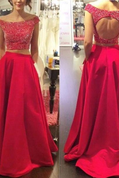 Off-shoulder 2pieces Prom Dresses with Beaded Bodice Fuchsia Taffeta Skirt