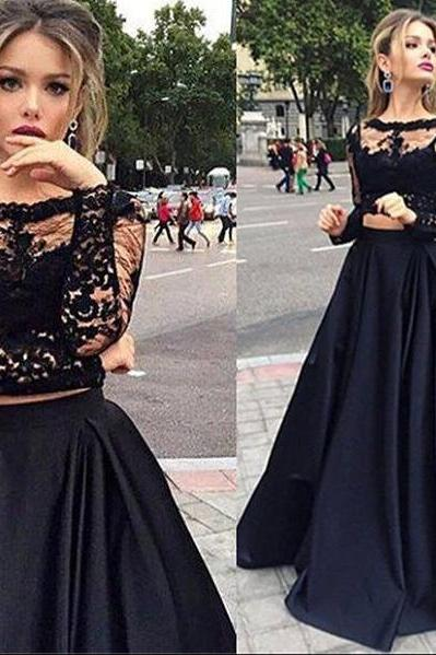 Black Lace Bodice 2 Pieces Prom Dress with Long Sleeve,2016 Formal Dress