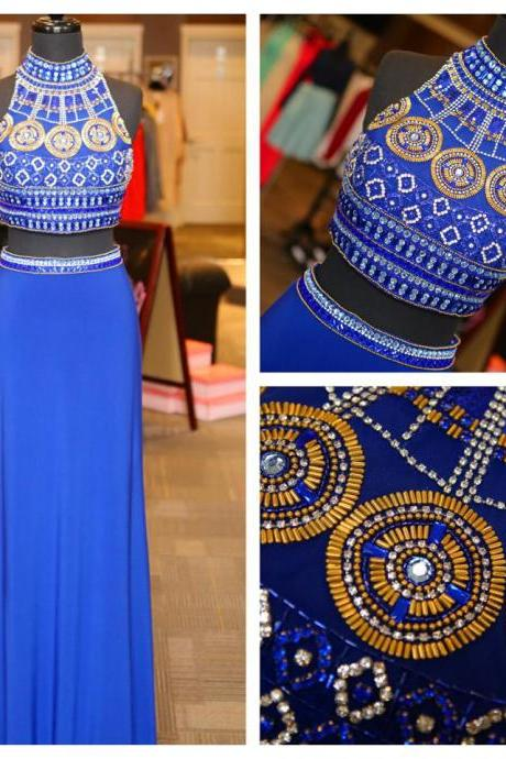 High Neck Beaded Bodice 2 Piece Prom Dress,Royal Blue Jersey Long Prom Dress,Formal Prom Gown 1569