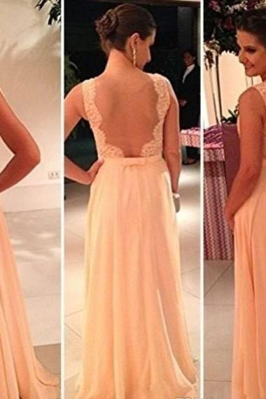 A-line Illusion Neck Chiffon with Lace Appliqued Bodice Long Prom Dresses 1404