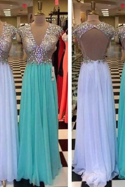 A-line V-neck Beaded Bodice Chiffon Skirt Backless Prom Dress 2016 Formal Gown 1438