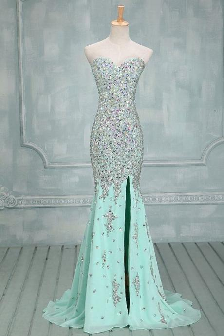 Sweetheart neck Mint Chiffon with Beaded Mermaid Prom Dress,Sparkly Prom Gown 1448