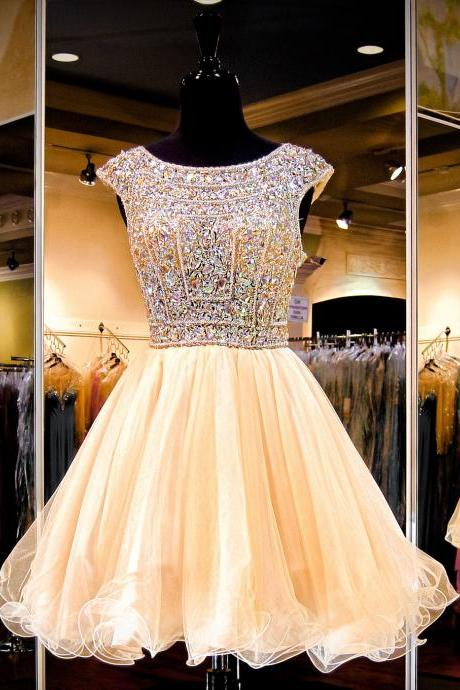 Princess Beaded Bodice Open Back Homecoming Dress,Short Prom Dress