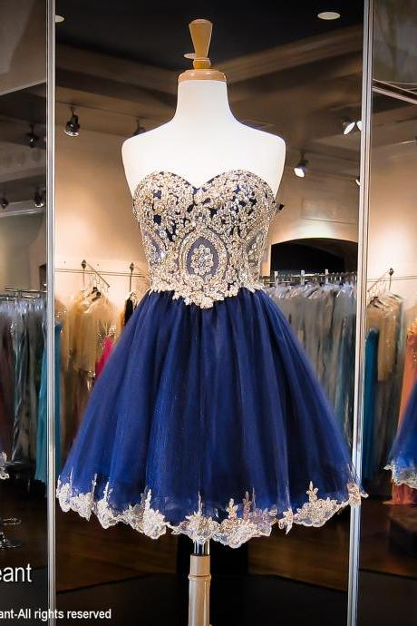 Sweetheart neck Gold Lace Appliqued Homecoming Dress,Navy Blue Tulle Short Prom Dress 1598