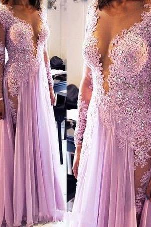 Sexy Lace Appliqued Lilac Prom Dress,Long Sleeve Prom Dress,Cute Formal Dress 1721