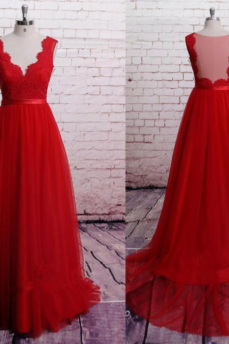 A-line V-neck Prom Dress,Red Tulle Long Prom Dress with Train,2016 Red Formal Gown 1470