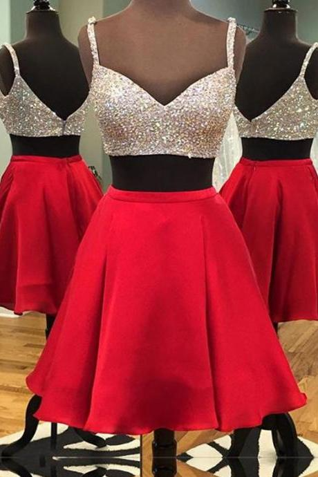 Spaghetti Strap Sweetheart Neck 2 Pieces Homecoming Dresses Sparkly Short Prom Gowns 1758