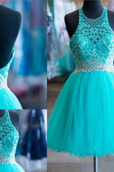 Rhinestone Beaded Bodice Shinny Homecoming Dresses,Halter Short Prom Dresses,Aqua Tulle Hoco Dresses 2k16,1857