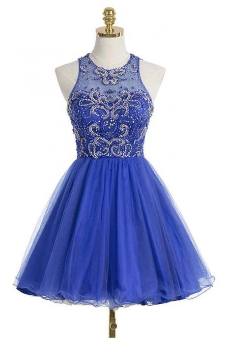 Halter Royal Blue Homecoming Dresses,Beaded Bodice Short Prom Dresses,Shinny Cocktail Dresses,Sparkly Hoco Dresses,1828