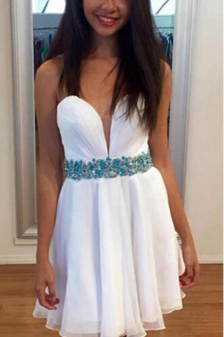 Sexy Little White Dresses,Strapless Sweet 16 Dresses,Shinny Homecoming Dresses with Beaded Waistband,Short Formal Dresses,1837
