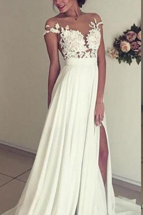Lace Appliqued Ivory Chiffon Prom Dresses,Slit on Skirt Beach Wedding Dresses,Chapel Train Long Formal Dresses,1782