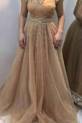 Shinny Beaded Nude Prom Dresses,Long Formal Dresses with Short Sleeves,Elegant Mother of bridal dress.1873