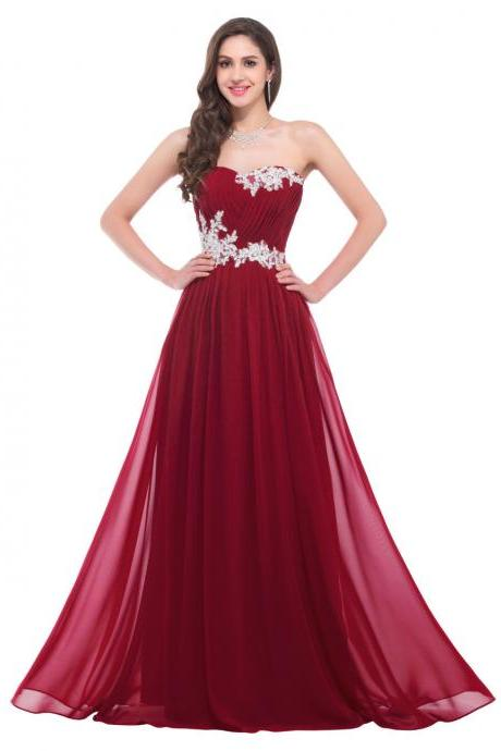 Simple Prom Dresses,Burgundy Chiffon Cheap Prom Dresses,Long Formal Dresses with Sweetheart neck,Cheap Bridesmaid Dresses,1874