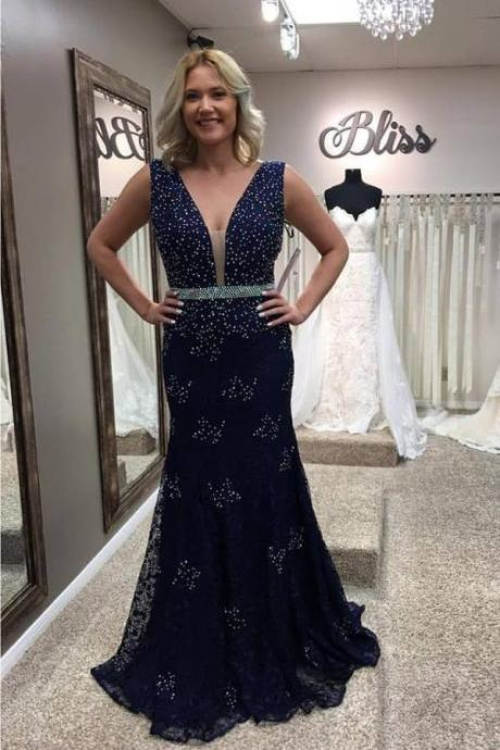 Lace Prom Dresses,Mermaid Prom Dresses,Navy Lace Mermaid Evening Gowns for 2016 Prom Party