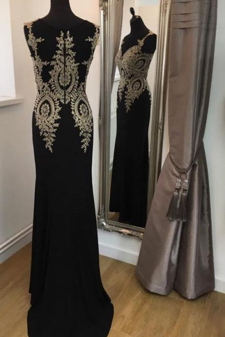 Black Jersey with Gold Lace Appliqued Prom Dresses,Mermaid Formal Dresses,Black Evening Dresses,1884