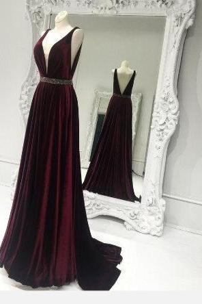 A-line V-neck Maroon Satin Prom Dresses,Beaded Formal Dresses,Simple Pageant Gowns,1938