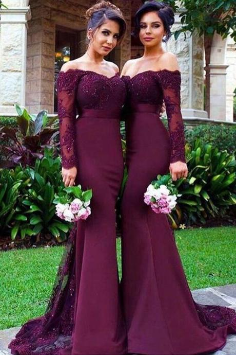 Mermaid Prom Dresses with Long Sleeves,Lace Appliqued Evening Gowns,Grape Bridesmaid Dresses,Mother of bridal dresses,1940