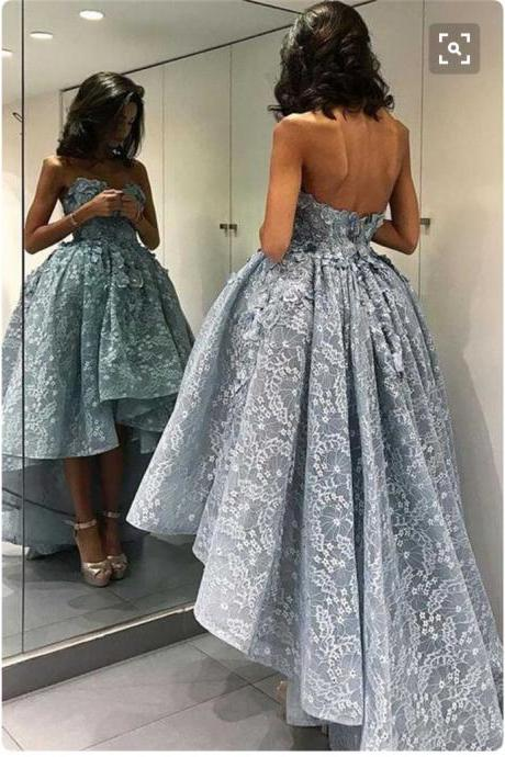 Lace Prom Dresses,High Low Prom Dresses,Strapless Ball Gown Formal Dresses,Senior Prom Pageant Dresses,1943