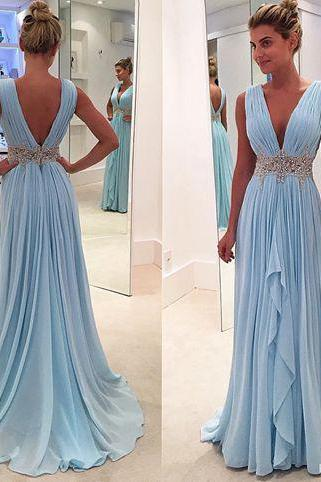 V-neck Sky Blue Chiffon Prom Dresses,Long Prom Dresses Backless Formal Gowns,1961