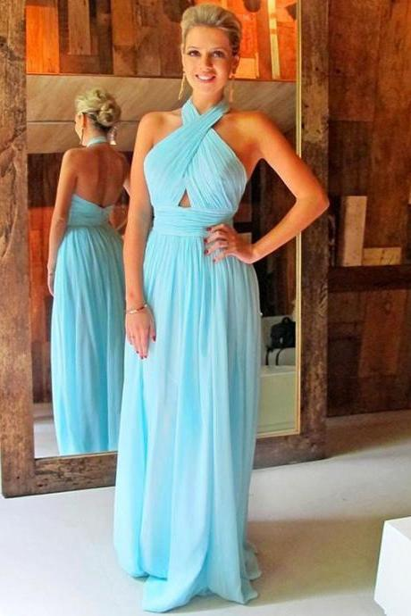 Long Chiffon Prom Dresses,Halter Prom Dresses,Simple Formal Dresses,Cheap Pageant Dresses,1972