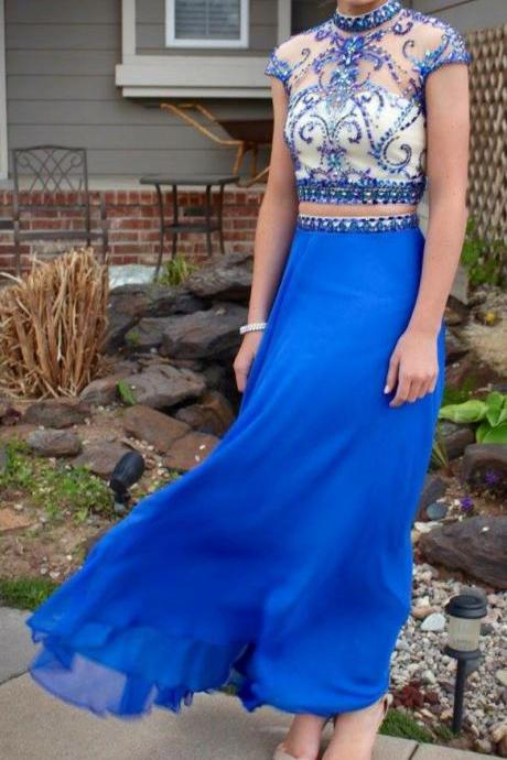 Royal Blue Chiffon 2 Pieces Prom Dresses,Beaded Prom Dresses,Senior 2k17 Prom Dresses,1996