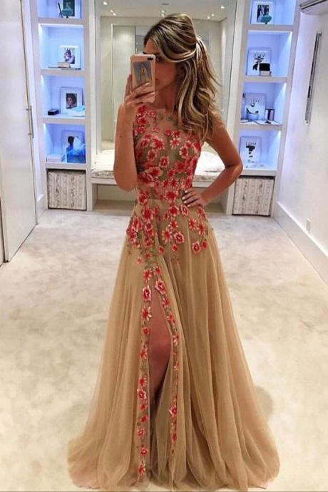 Floral Long Prom Dresses,Gold Tulle Formal Dresses,2017 Pageant Dresses,2046