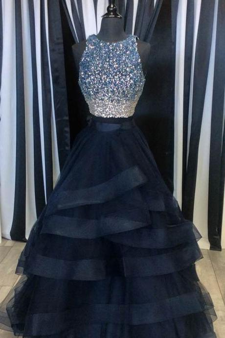 Beaded Two Pieces Prom Dresses,Navy Blue Pageant Dresses,2 Pieces Formal Prom Gowns,2064