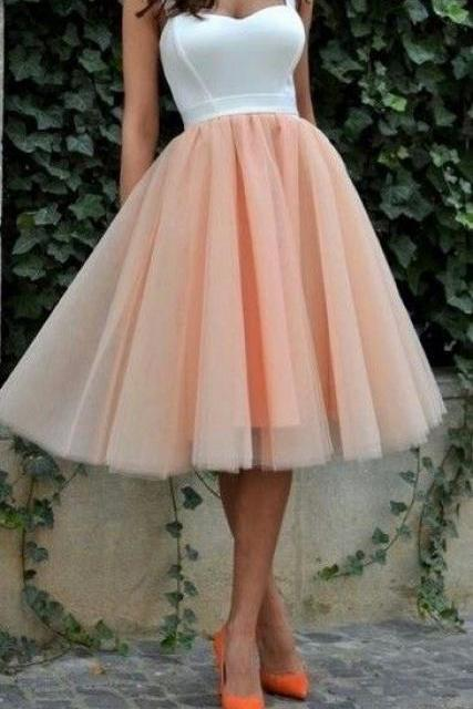 White Bodice Blush Pink Tulle Homecoming Dress,Cheap Bridesmaid Dress,Short Prom Dress,2101