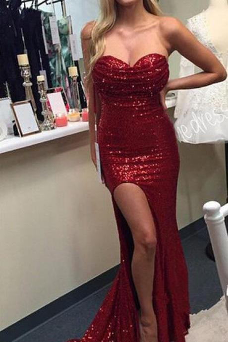 Red Sequins Lace Mermaid Prom Dress,Sweetheart Neck Evening Dress,Strapless Formal Dress,Pageant Dress,2114