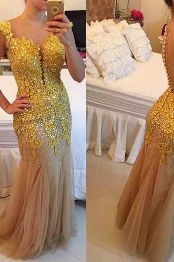 Nude Tulle with Gold Lace Appliqued Prom Dress,Mermaid Evening Dress,Long Formal Dress Senior Prom 2017,2123