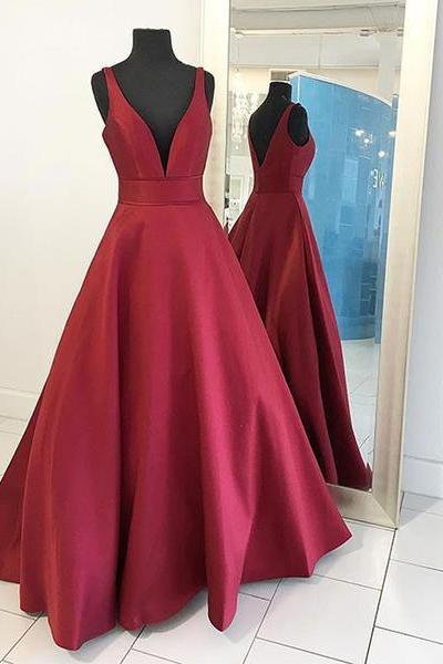 V-neck Burgundy Satin Prom Dresses,Simple Long Formal Dresses,Cheap Graduation Dresses,2139