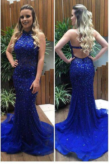Sparkly Beaded Royal Blue Mermaid Prom Dress,Shinny Formal Pageant Dress,Senior Prom 2017 Dress,2142