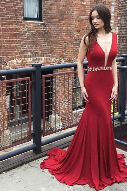 Deep V-neck Burgundy Jersey Prom Dresses,Mermaid Evening Formal Dress,Sweep Train Pageant Dress,2148