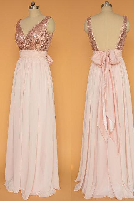 A-line Sequins Bodice V-neck Simple Prom Dress,Pink Chiffon Bridesmaid Dress,Long Bridesmaid Dress,2150