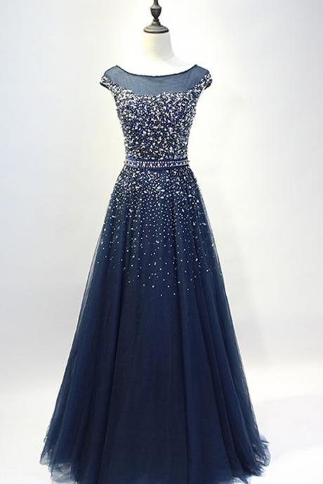 Navy Tulle with Beaded Long Prom Dresses,Senior 2017 Prom Formal Dress,Beaded Pageant Dress,2152