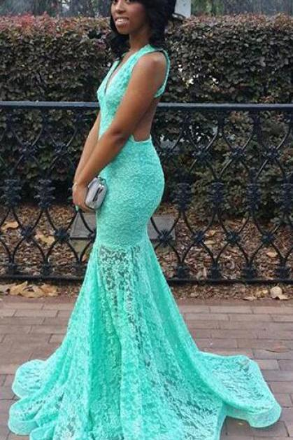 Aqua Lace Backless Prom Dress,Mermaid Formal Dress,Senior 2017 Prom Pageant Dress,2155