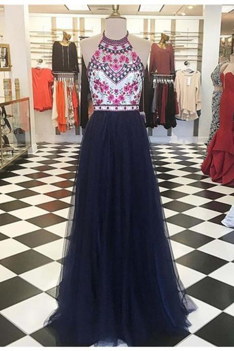 Halter Floral Embroidery Prom Dress,Navy Tulle Long Prom Dress,Senior Pageant Formal Dress,2156