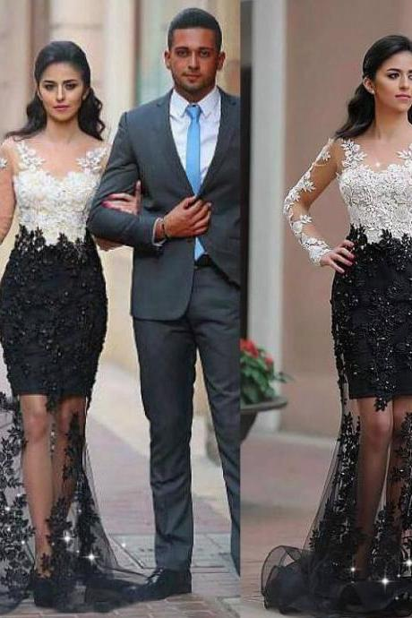 White Top Black Bottom Prom Dress,Long Sleeves Formal Dress,Elegant Celebrity Dress,2189