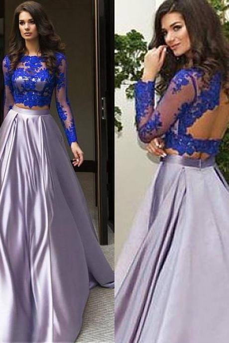 Royal Blue Top Grey Satin Skirt Prom Dresses,Long Sleeves 2 Pieces Prom Dress,Two Pieces Formal Dress with Backless,2242