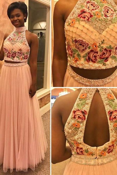 Two Pieces Floral Top Prom Dresses,High Neck Beaded Prom Dress,2 Pieces Prom Dress,Two Pieces Formal Gown,2243